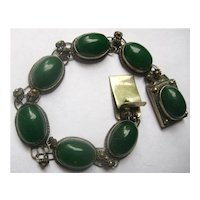 chinese Green Glass and silver Bracelet