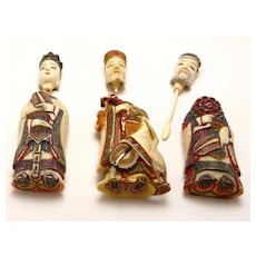 3 Bone Carved Snuff Bottles