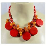 Vintage Bakelite necklace with red and butterscotch dangles