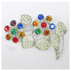 Clear and Colorful Rhinestone flower brooch