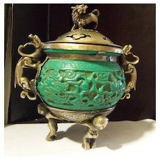 Green Cinnabar or Jade Brass  Incense Dragon Foo