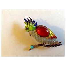 Vintage Plique-A-Jour 925 / 22 Karat Gold Enamel Bird Pin