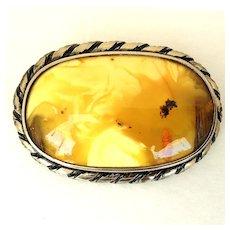 Vintage yellow stone, silver tone pin