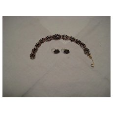 Vintage Boho or Victorian Garnet Bracelet and Earrings