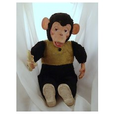 Vintage Stuffed Rubber Faced Monkey
