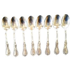 Eight Matching Antique Sterling Teaspoons Reed and Barton c 1894