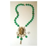 Elaborate Unsigned HAR Asian Man Pendant Necklace: Faux-Jade Beads