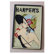 """Vintage Wall Hanging: Repro of Lady on """"Harper's"""" Cover"""
