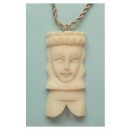 Large Ivory-Look Chess Piece Queen Pendant Necklace: Deeply Carved