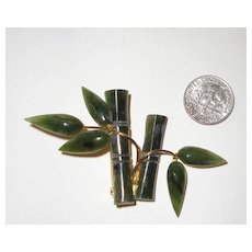 "C. 1960s Faux-Jade Bamboo Brooch: ""MAd Men""-Worthy"