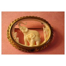 Ivory-Like Mother Elephant & Baby Brooch: France: Déposé