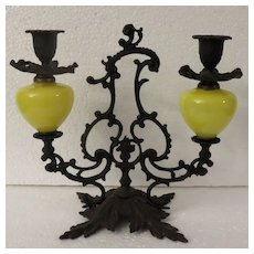 Cast Iron Double Candle Holder with Yellow Glass Globes