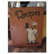 Hardcover Wooden Recipes Book * * Black ~ Negro Chef