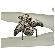 Sterling Silver  Marcasite Bee Insect Bug Pin