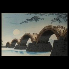Japanese Woodblock Kintai-bashi Bridge