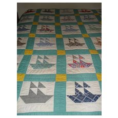 Sailboat Quilt Feed Sack