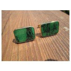 14kt Vintage Luxurious Green/Black Gemstone Cufflink