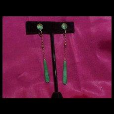 Vintage Drop Jade Earrings