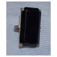 Gorgeous and Eye Catching Art Deco Brass and Black Glass Cocktail Ring