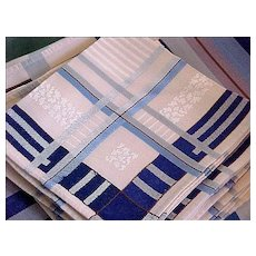 Pristine 72 X 52 Formal LINEN Table Set Blue Banded Tablecloth & 8 Napkins