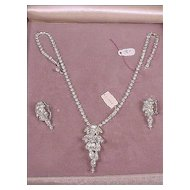 Vintage 1948 Prestige Rhinestone Necklace & Earrings Set NEW In Original Box