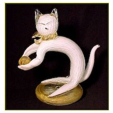 Venetian Murano Art Glass Cat Playing With Ball Sculpture Figurine