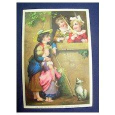 Vintage Embossed Color Birthday Greeting Card ~ Children & Dog