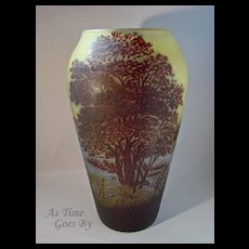 Galle Marked Cameo Glass Vase