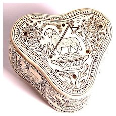 Antique Handmade Horn Box with Allegorical Designs, $400 Sale!