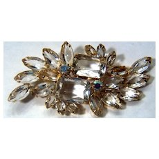 Vintage Stunning Clear and Aurora Borealis Rhinestone Pin Brooch ~ Possibly Juliana