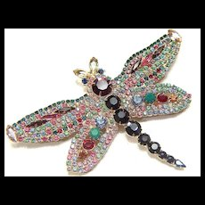 Vintage & Gorgeous Rhinestone Encrusted Dragonfly Pin Brooch - Possibly Juliana