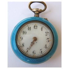 Antique Gold Guilloche Enamel & Seed Pearl Pocket Watch