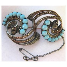 Fabulous French Antique Silver, Turquoise /Marcasite Pin