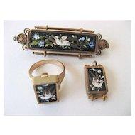 Fabulous Antique Micromosaic Pin, Pendant and Ring Set