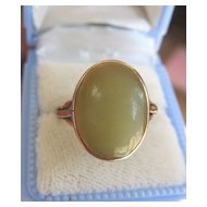 Beautiful Antique 9K Rose Gold Pale Green Stone Ring