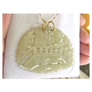 Beautiful Hand-Carved 22K Gold Jade? Pendant