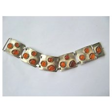 Beautiful Bold Amber Wide 835 Silver Panel Bracelet