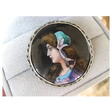 Lovely Enamel Silver Portrait Pin