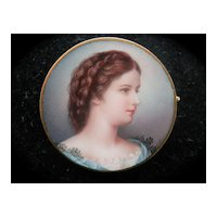 Splendid 18K Fine Enamel Portrait Miniature Pin