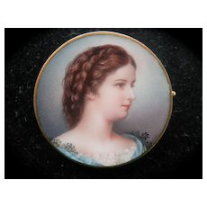Splendid 18K Fine Enamel Portrait Miniature Pin