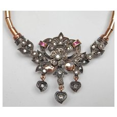 Exquisite Antique Silver Gold Diamond Ruby Foliate Necklace
