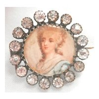 Antique Portrait Paste Victorian Pin Brooch