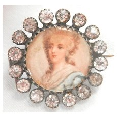 Antique Portrait Paste Victorian Pin Brooch