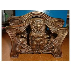 Brass Desk Top Owl Motif Letter Holder Signed ?