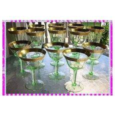 Extraordinary vintage vaseline glasses with gold gilt trim