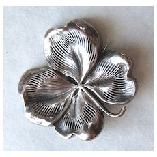 Antique Victorian Sterling Silver Four-Leaf Clover Brooch Pin