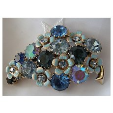 Beautiful Rhinestone and Flowered Enamel Brooch