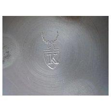 Aluminium bowl, Brass handles   Hallmarked