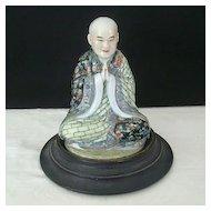 Signed Porcelain Buddha Palms Together With Base
