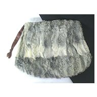 Large Zippered Gray Fur Muff ~ 1940's Vintage